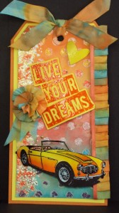 live your dreams - classic sports car stamp - visible image