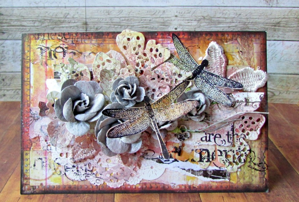 Visible Image stamps - Dragonfly - Just Making Memories - Mixed Media - Elena Smoktunova
