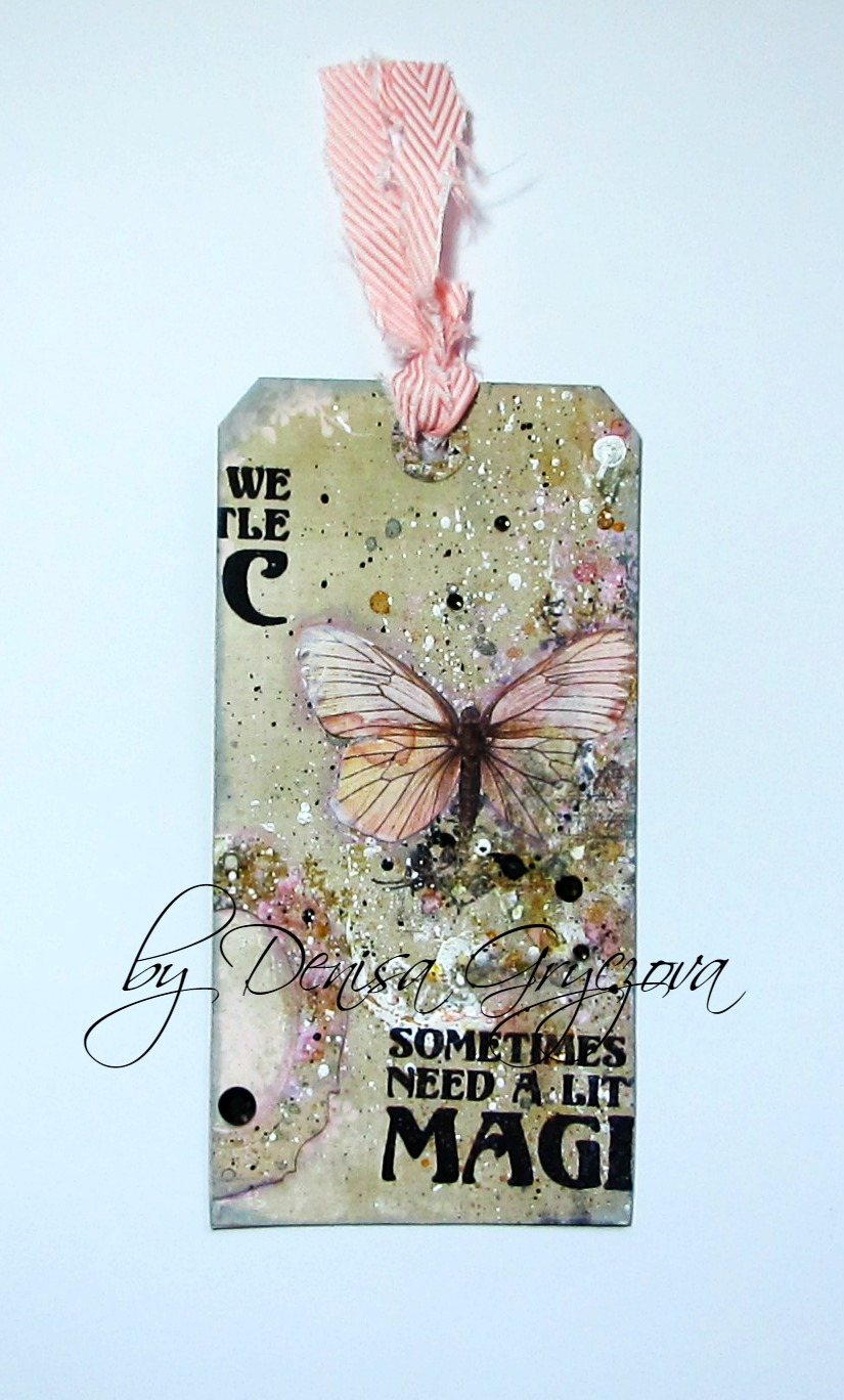 Visible Image stamps - A Little Magic - Mixed Media Tag - Denisa