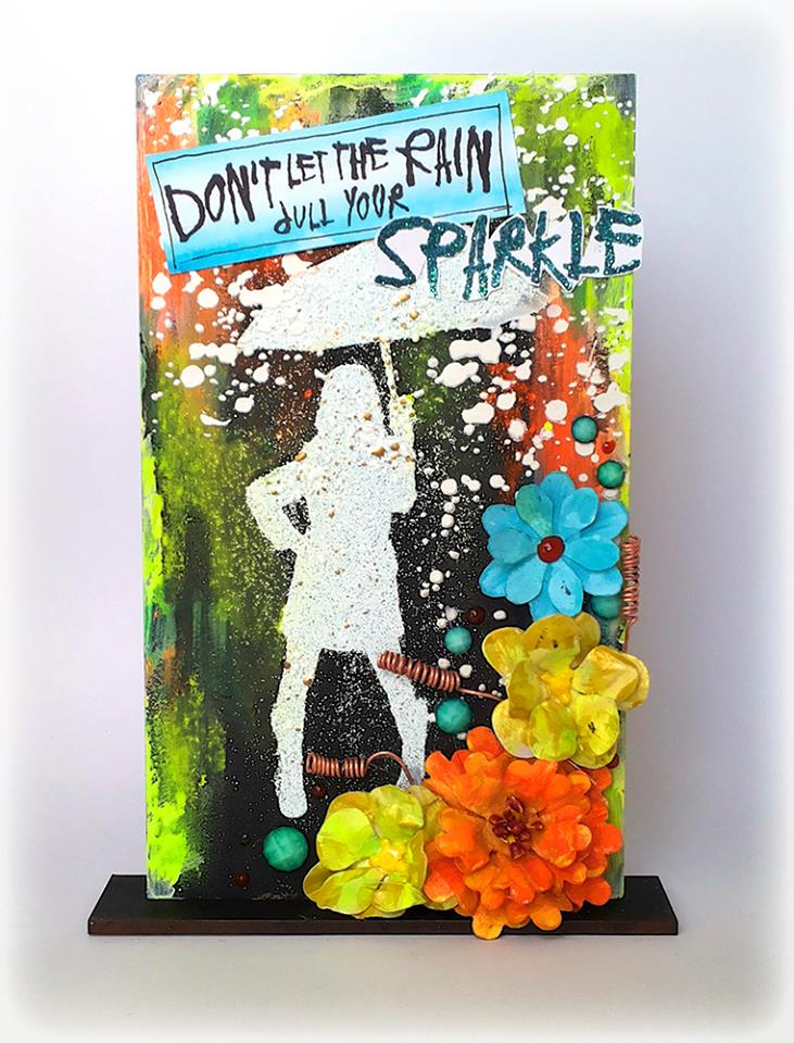 Visible Image stamps - Sparkle In The Rain, MDF Monolith, Mixed Media Art - Susanne Rose