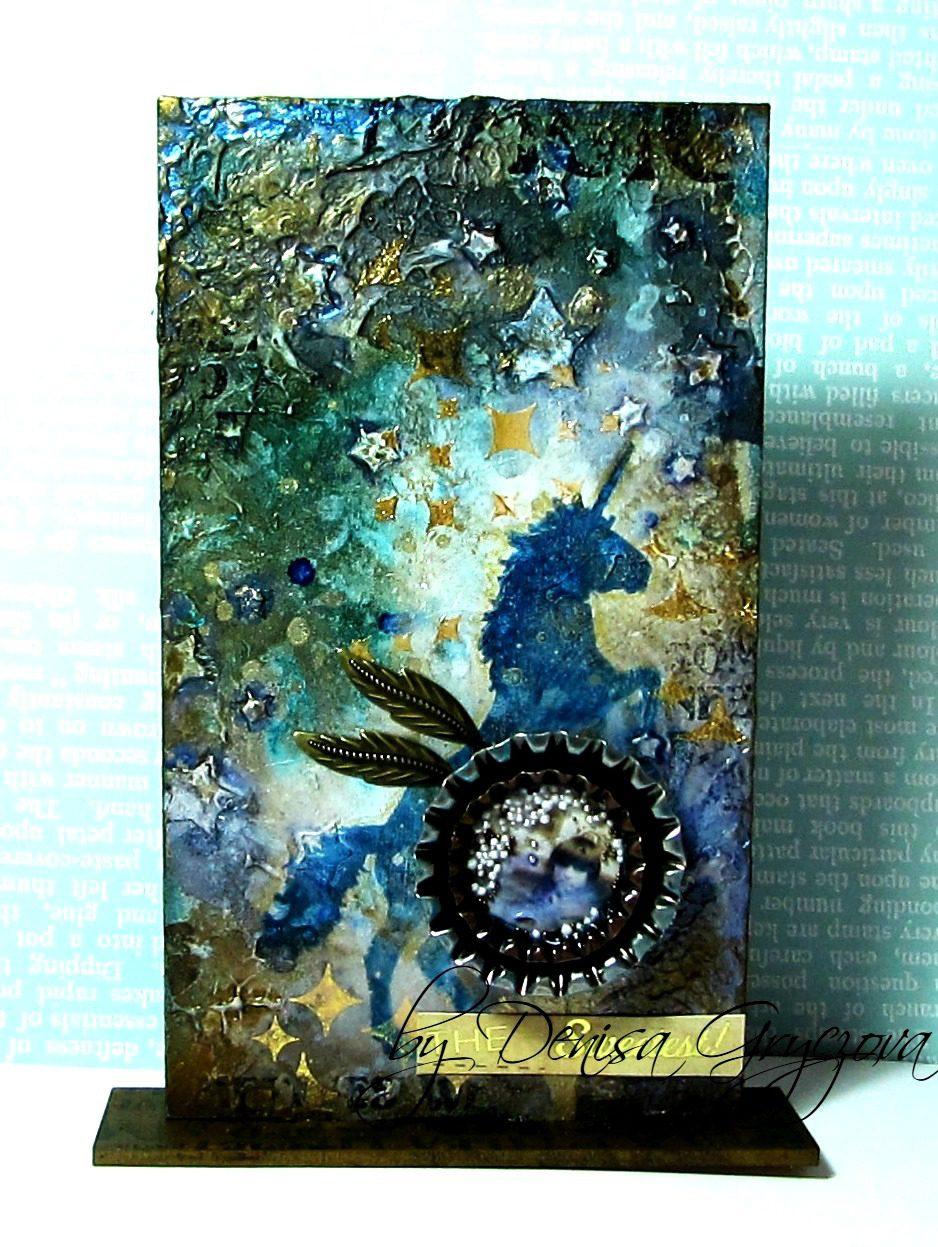 Visible Image stamps - Unicorn - Mixed Media MDF Monolith - Denisa Gryczova