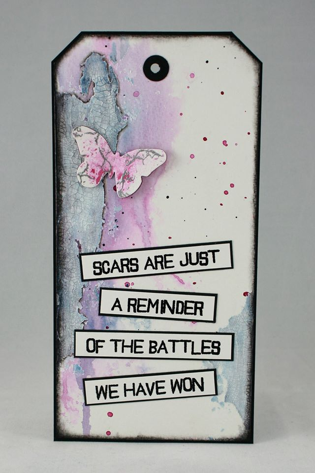 2017-02-11 Visible Image - stamps - scars quote - mixed media tag - Veerle Moreels
