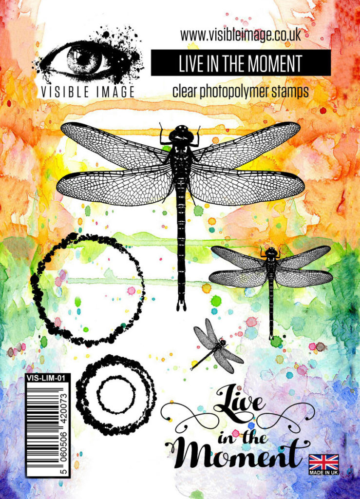 dragonfly stamp - live in the moment