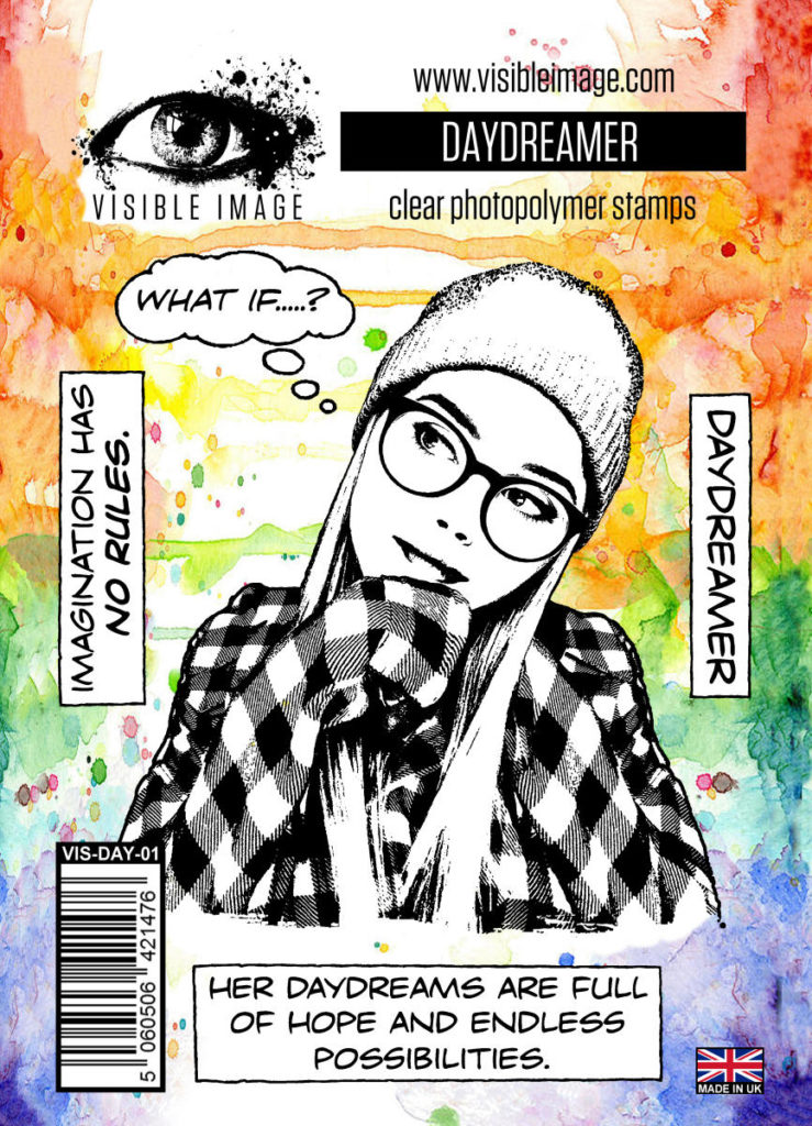 daydreaming girl stamp - teenage card