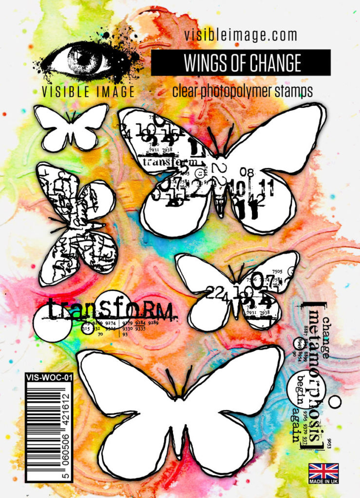 grungy butterfly stamps | mixed media | stamping | clear | rubber