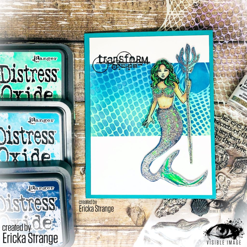 mermaid stamp | fishnet stencil | torn | ripped | underwater theme card
