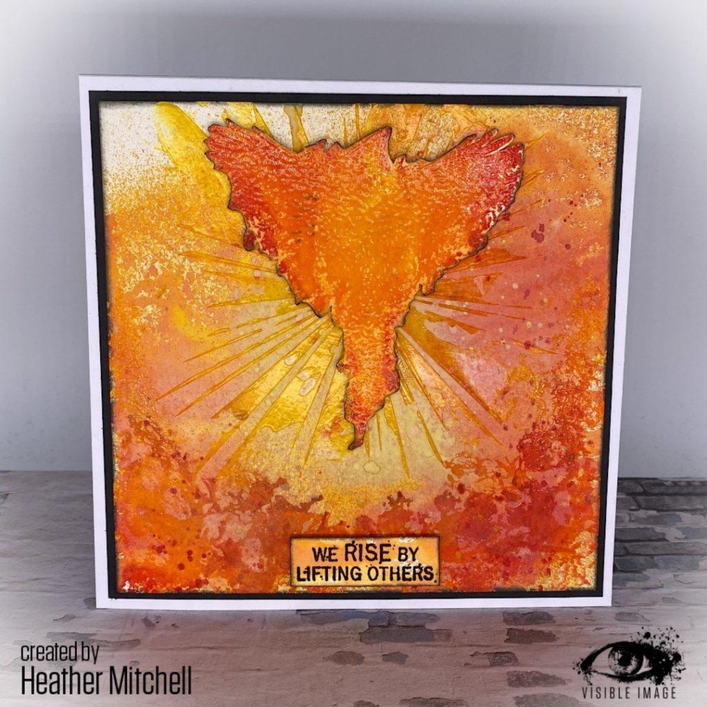phoenix stamp | visible image | mixed media card