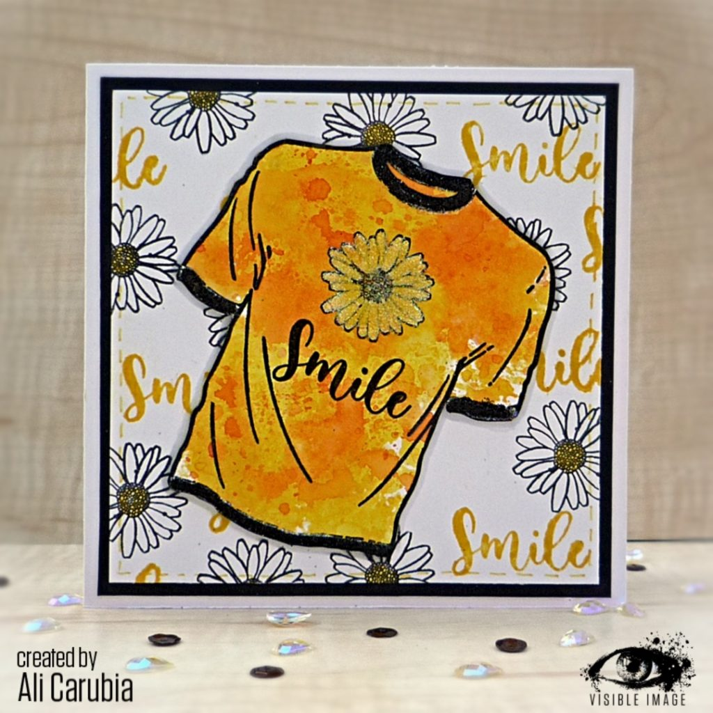 T-Shirt Stamp | Smile | Daisy | Handmade Card | Stamping