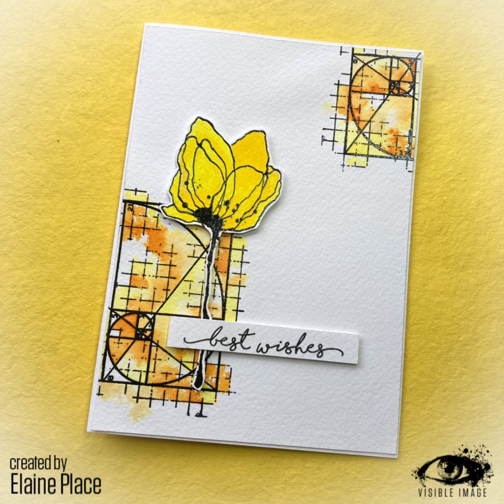 flower stamp | CAS card | best wishes