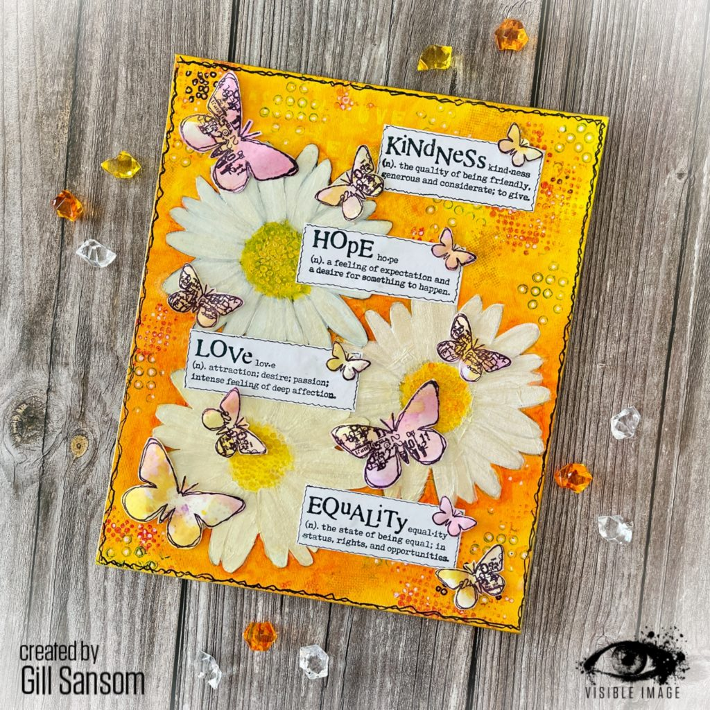 Daisy stencil | canvas | stamping | grungy butterflies | kindness