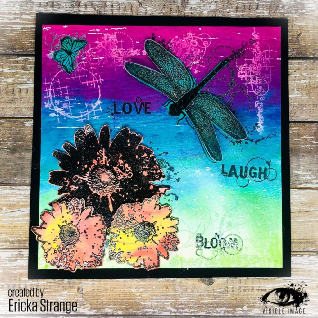 Vibrant Card | Flower + Dragonfly Stamps | Clear | Rubber