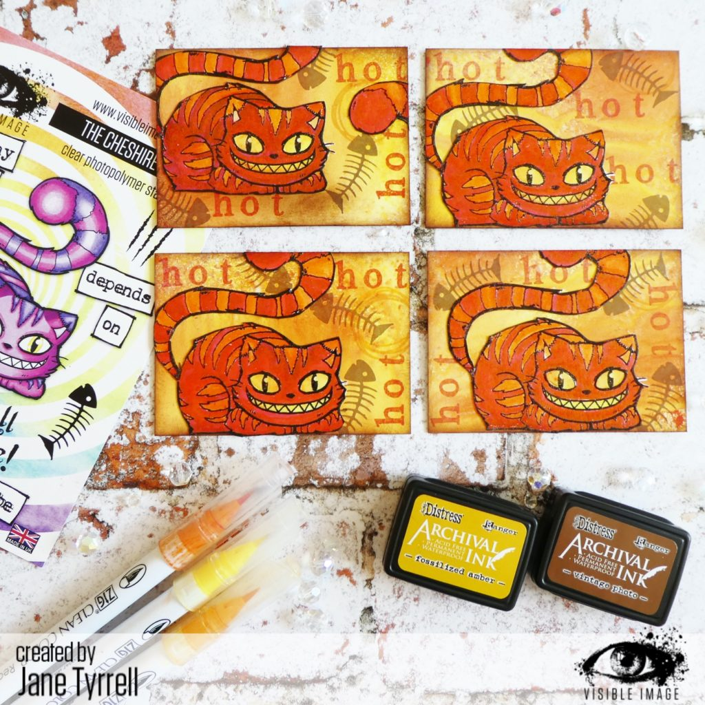 cheshire cat ATC | visible image stamps