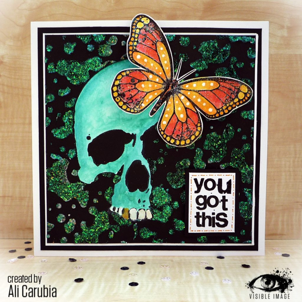 You Got This | Handmade Card | Skull Stencil | Butterfly Stamp